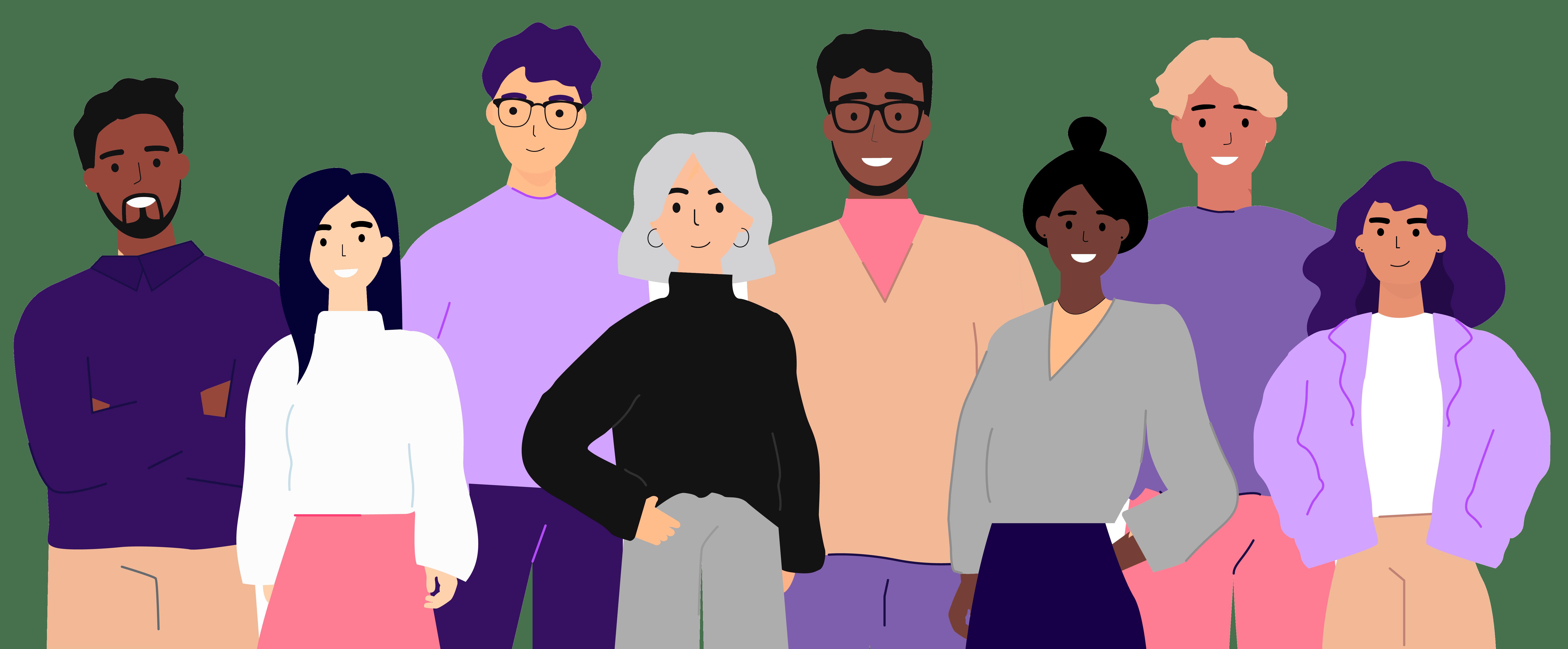 Pessoas diversas representando funcionários